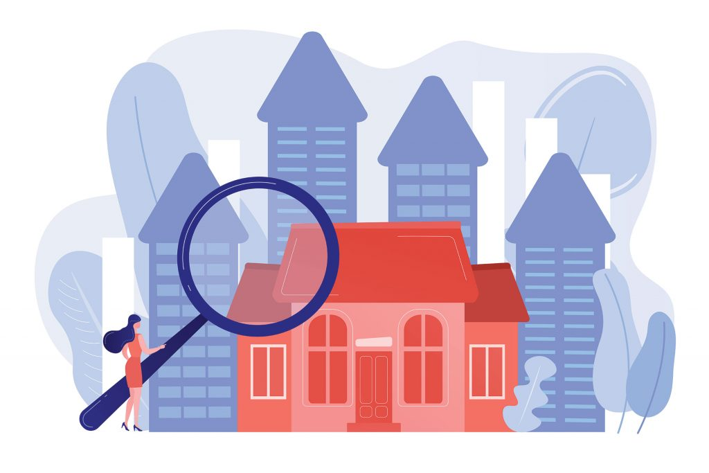 graphic of properties and a person holding a magnifying glass   set up your Google hotel feed   HiSITE